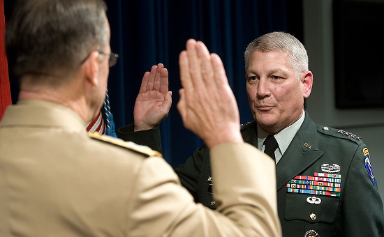 General Carter F. Ham being sworn into office as the Commanding General, U.S. Army Europe by Chairman of the Joint Chief of Staff, Admiral Michael Mullen on August 28, 2008.