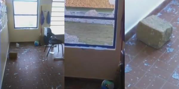 Vândalos quebram vidraças em escola na Vila Palmeiras