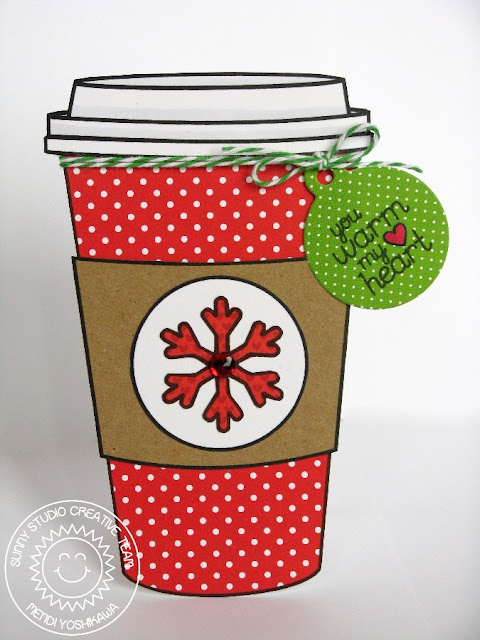 2015 Winter Coffee Lovers Blog Hop: Sunny Studio Coffee Shaped card using Hot Drinks~Warm Hearts Digital Stamp