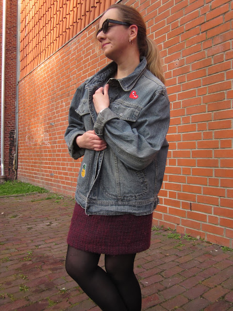 Outfit: A fun DIY-patched jacket with a darker look underneath