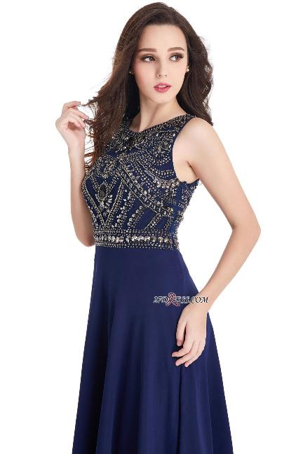 2017 Sleeveless Chiffon Vintage Dark-Navy Long Crystals Prom Dresses–Price US $99