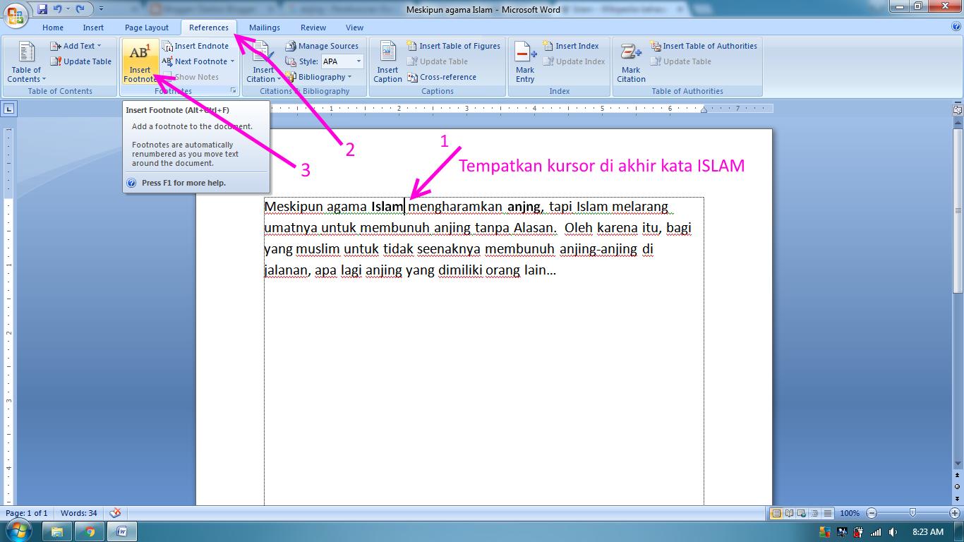 Cara Mudah Membuat Footnote atau Catatan Kaki Di Word 2007