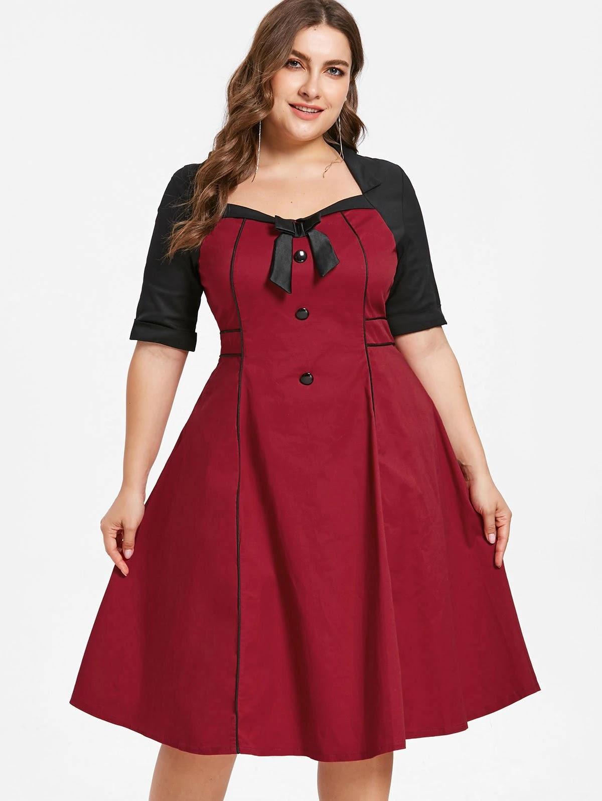 Plus Size Color Block Knee Length Dress
