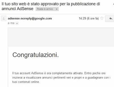 email conferma adsense