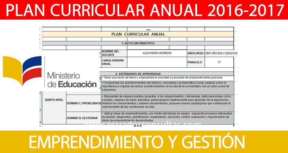 Formato Plan Curricular Anual de Emprendimiento y Gestión 2016-2017 ...
