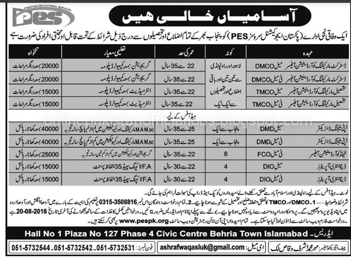 Pakistan Education Services Jobs Islamabad 2016