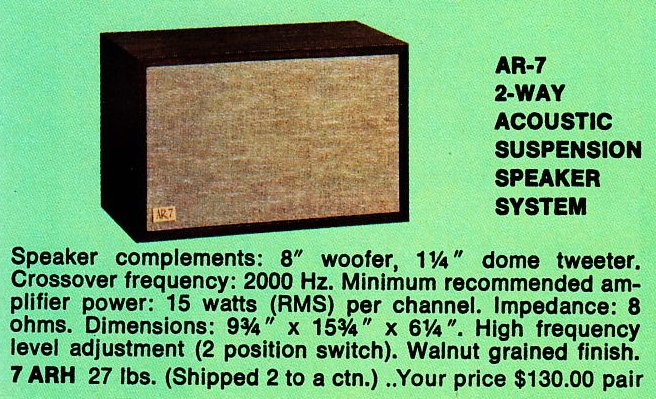 Acoustic Research Ar-7 specs speaker AR7 advertisement
