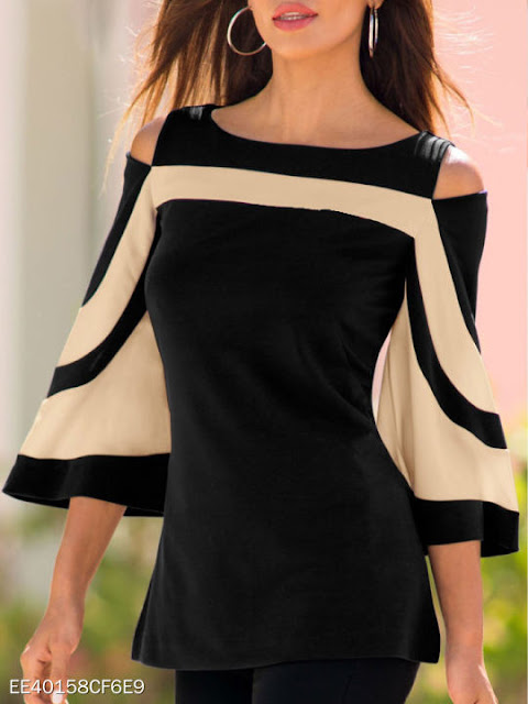 Round Neck Backless Striped Three-Quarter Sleeve Long Sleeve T-Shirts