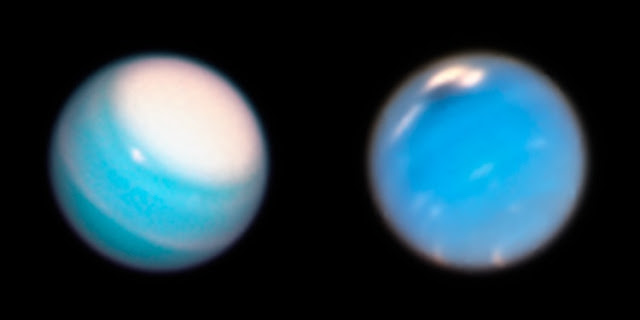 Uranus (left) sports a prominent ice cap in recent Hubble Space Telescope photos, while Neptune (right) hosts a dark storm. (Uranus image by NASA, ESA and A. Simon/NASA Goddard Space Flight Center; Neptune photo by Mike Wong and Andrew Hsu, UC Berkeley)