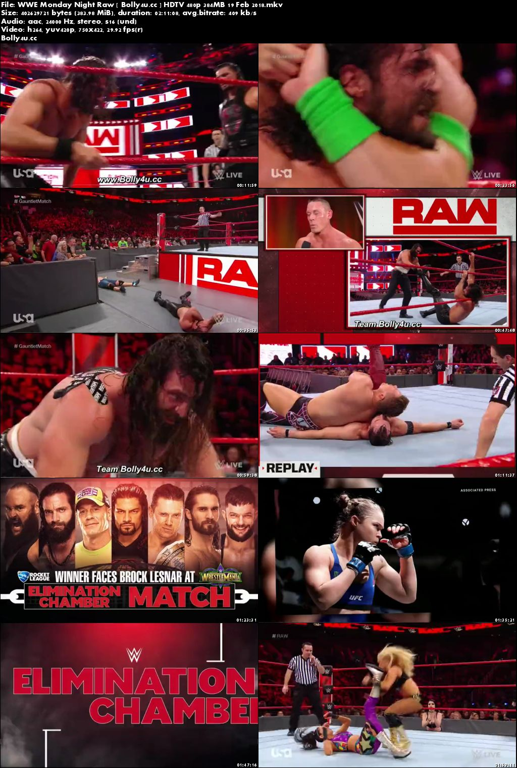 WWE Monday Night Raw HDTV 480p 350MB 19 Feb 2018 Download
