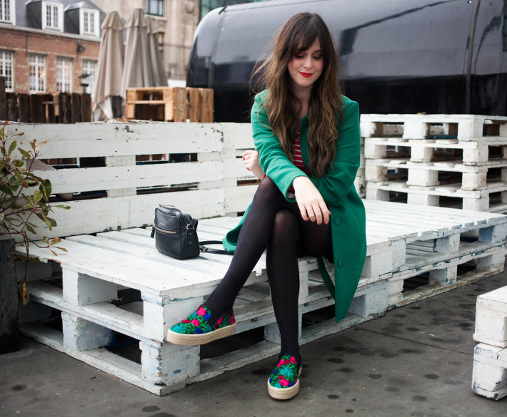 green coat, embroidered espadrilles