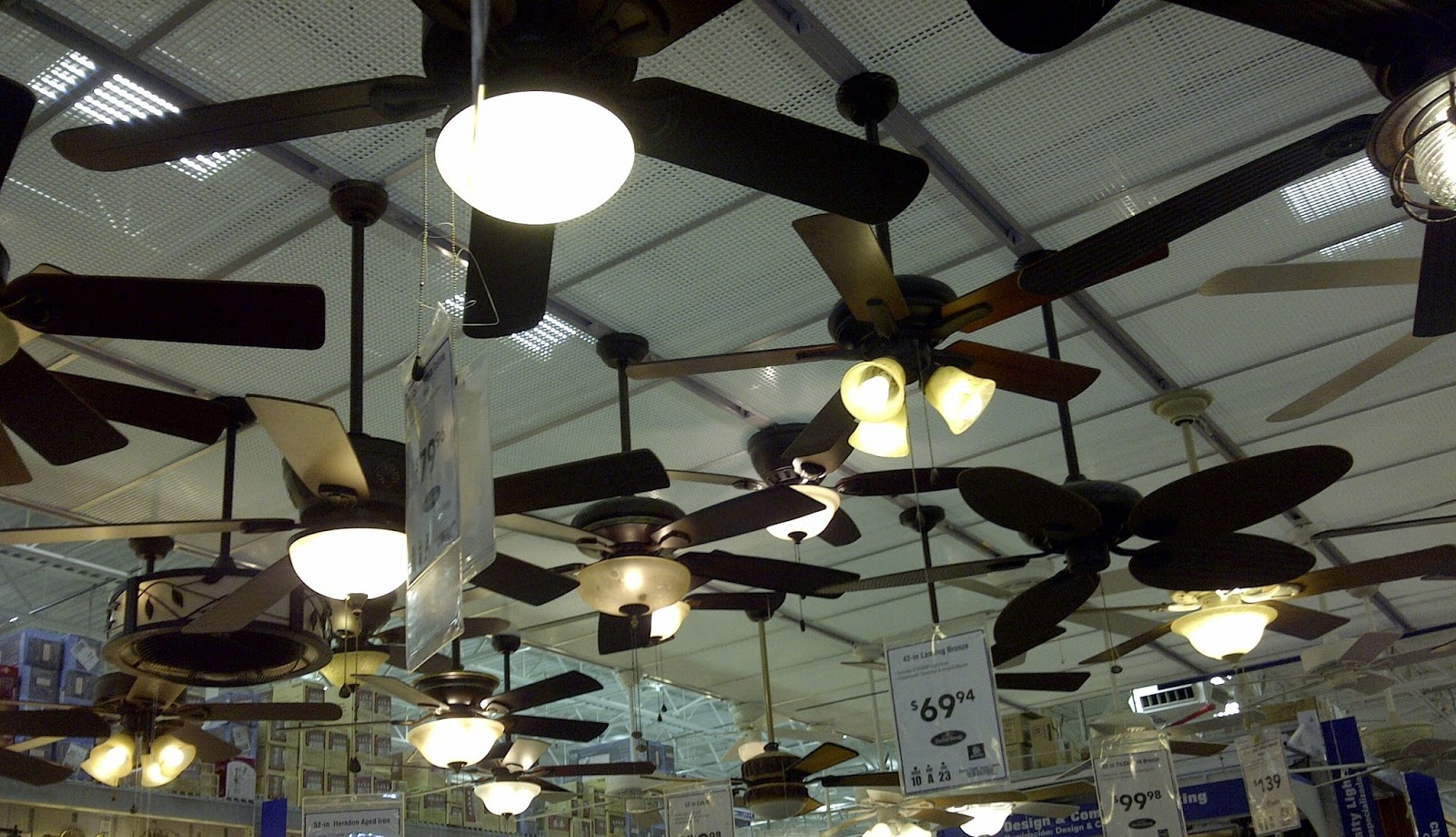 Display Of A Variety Ceiling Fans