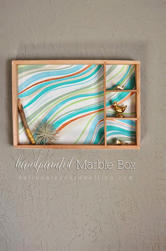 display shelf marbled box diy