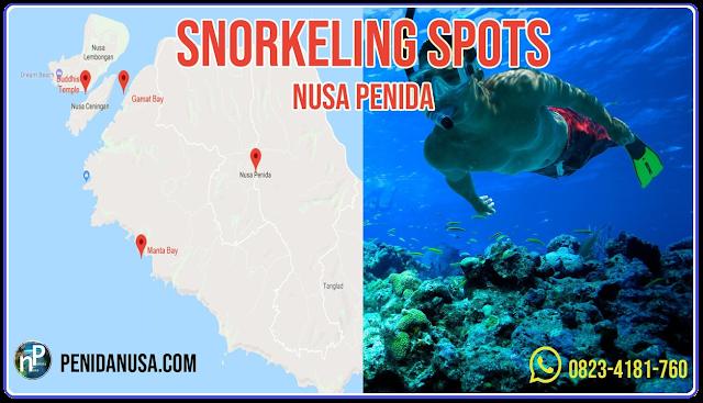 nusa penida snorkeling map