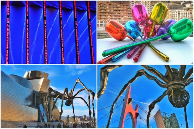 Instalacion para Bilbao de Jerry Holzer, Tulipanes de Jeff Koons, Mama de Louise Buorgeois junto al Museo Guggenheim Bilbao