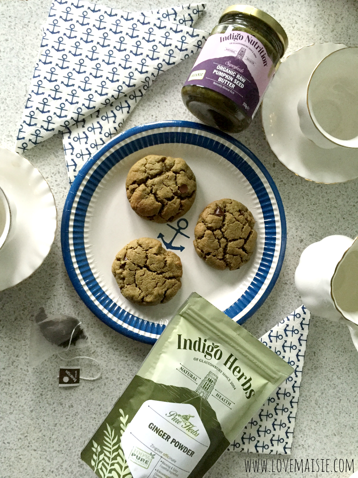 Vegan Ginger + Pumpkin Seed Butter Cookies! Love, Maisie with indigo Herbs