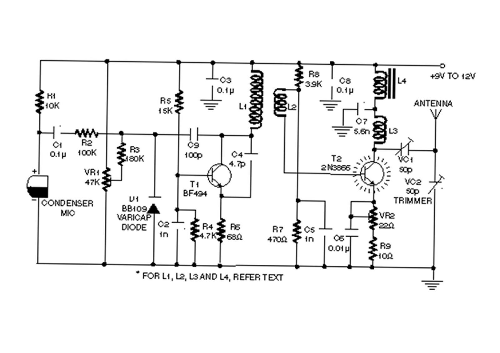 vhf wireless microphone circuit diagram
