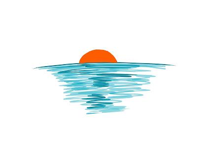 アイコン 「夕方」 (作: 塚原 美樹) ~ 海に沈む夕日を描く