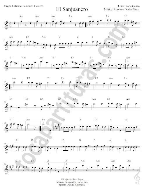 El Sanjuanero Joropo de Sofía Gaitán y Anselmo Durán Plazas Partitura Fácil con Acordes El Sanjuanero Sheet Music with Chords
