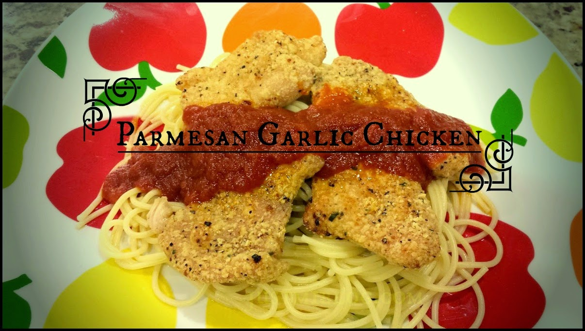 A chicken recipe including parmesan, garlic, and spaghetti with marinara sauce.