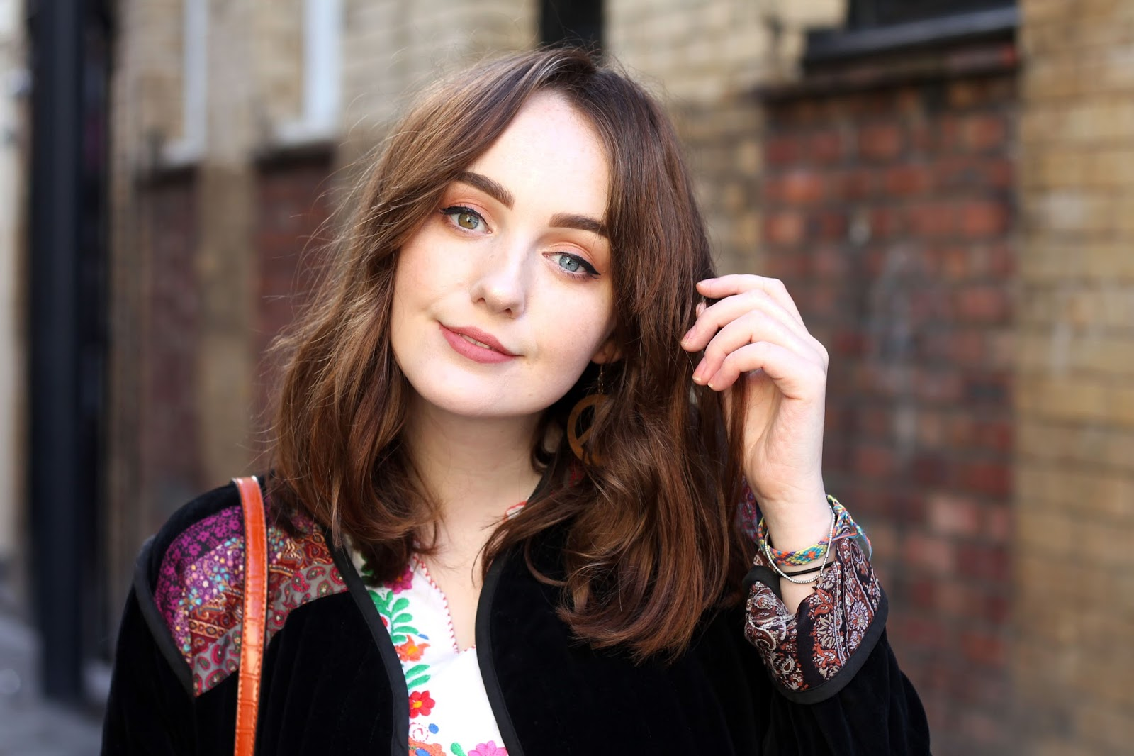 UK fashion blogger wearing rokit vintage bohemian jacket