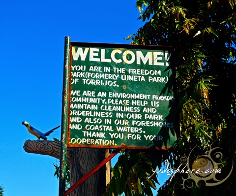 hover_share Welcome sign at Freedom Park also knows as Luneta Park