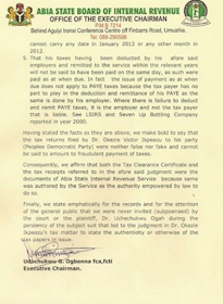 Ikpeazu Tax Clearance not Fake! - Abia IRS Breaks Silence