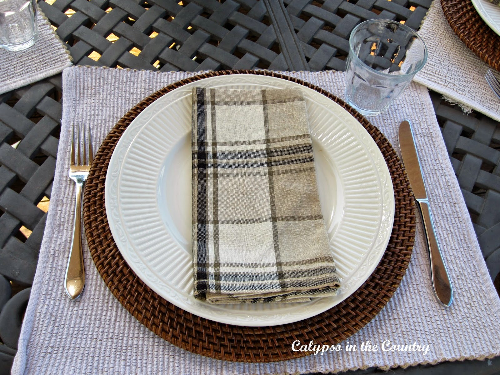 Masculine Place Setting with Plaid Napkins - great look for Father's Day