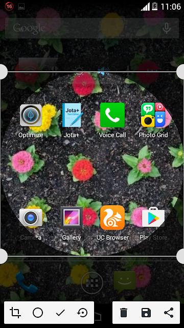 Screenshot crop and share