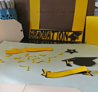 Graduation Gift Card, Yellow, Black, Brown, Yellow Brown Tape, Star, Banner, Tassel, Mortar Board, Sharpie Markers