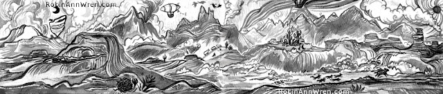 an ink and brush drawing of a canyon landscape cleaned up with Photoshop, by Robin Ann Wren © 2015
