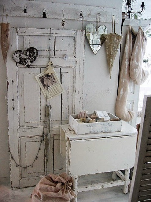 shabby white door propped