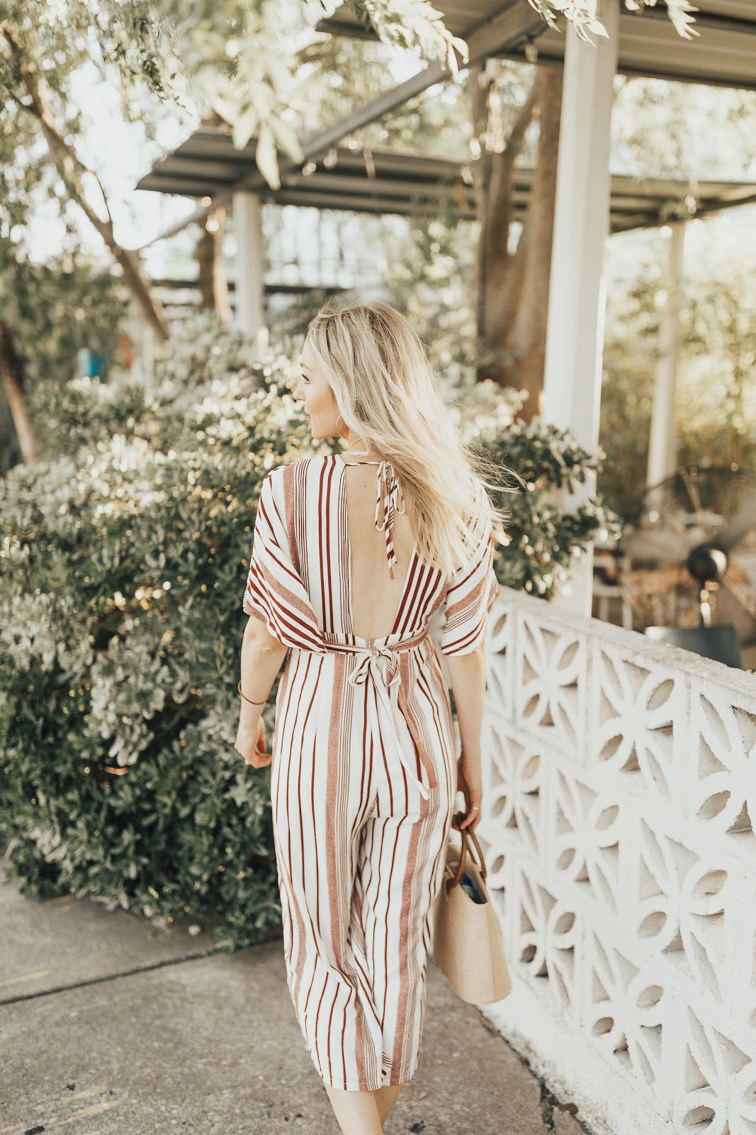 stripe jumpsuit with low back