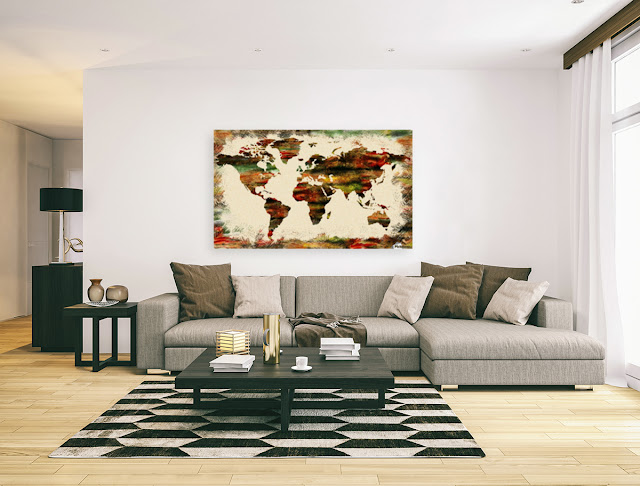 Watercolor World Map painting in interior decor