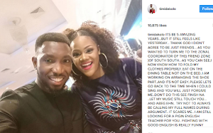 Talented Singer Timi Dakolo's composed  romantic and adoring message to his beautiful wife on their 5th weedinng anniversary