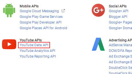 get youtube data api key 1
