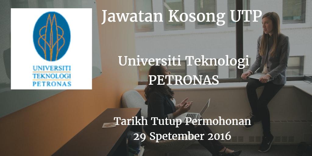 Jawatan Kosong UTP 29 September 2016