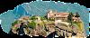 Nhà trên đỉnh núi sa thạch cao chót vót ở Hy Lạp