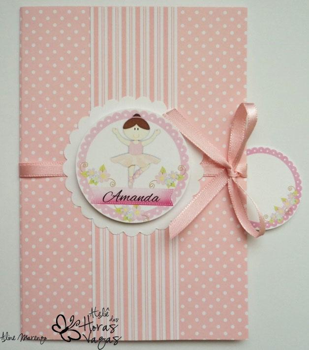 convite artesanal aniversário infantil bailarina poá rosa branco 1 aninho menina