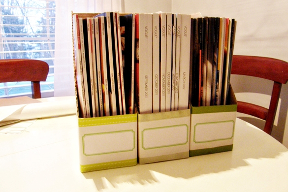 DIY magazine storage