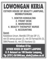 Tantangan Karir Esther House Of Beauty Lampung Terbaru Mei 2016