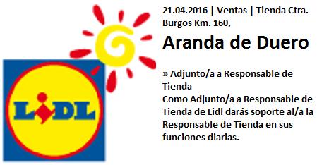 Lanzadera de Empleo Virtual Burgos, Ofertas Lidl Aranda del Duero