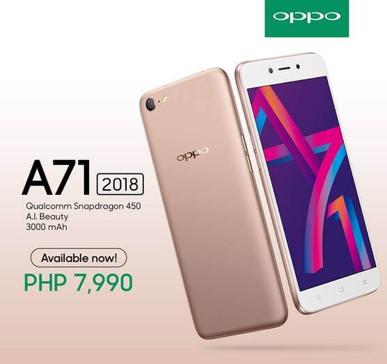 OPPO A71 2018 Now Available for Php7,990