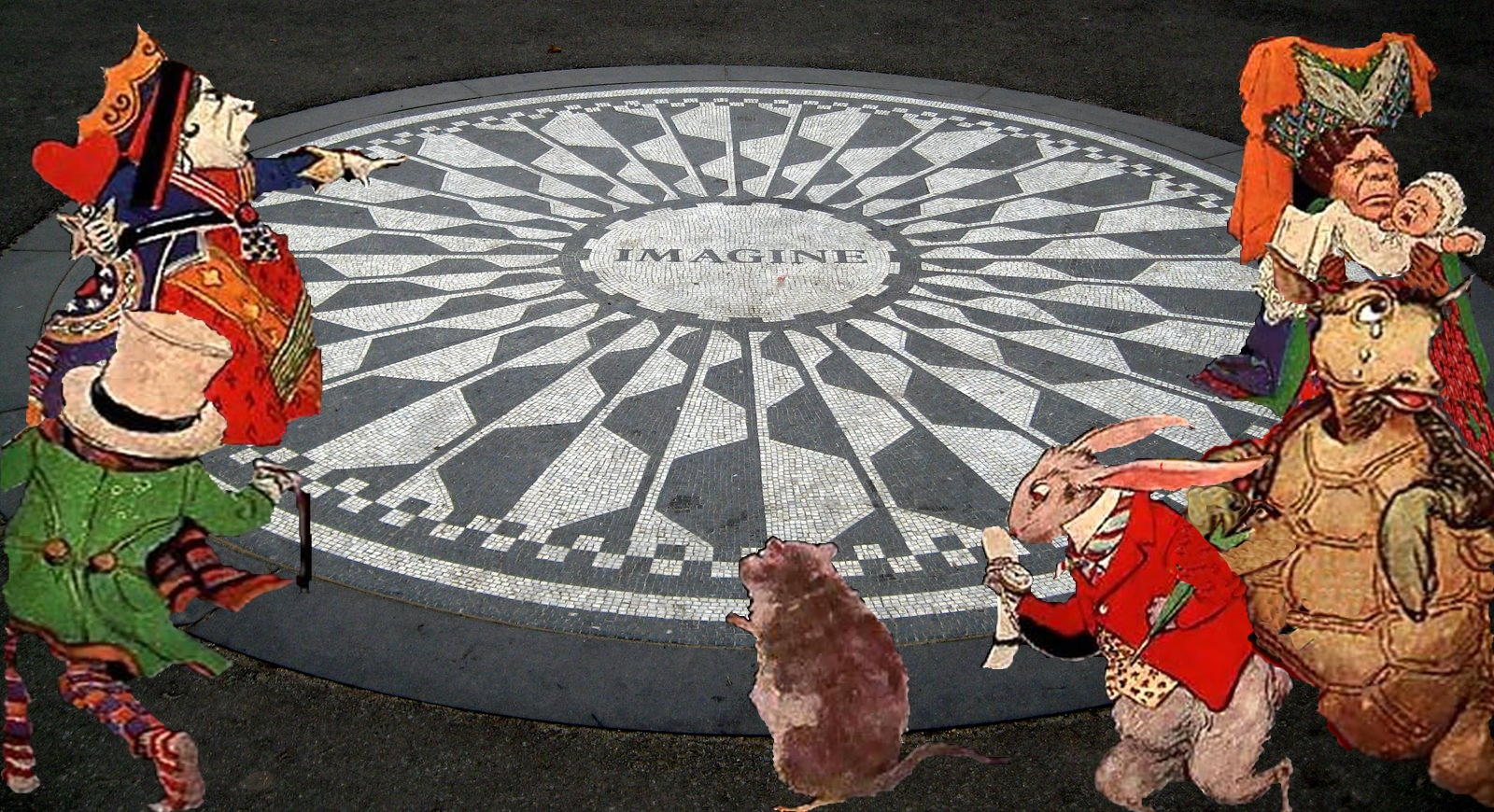 Imagine Strawberry Fields Alice characters of Wonderland