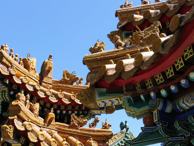 Temple adornments indicating importance in Beijing China