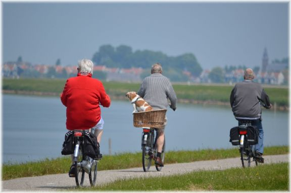 elderly persons cycling