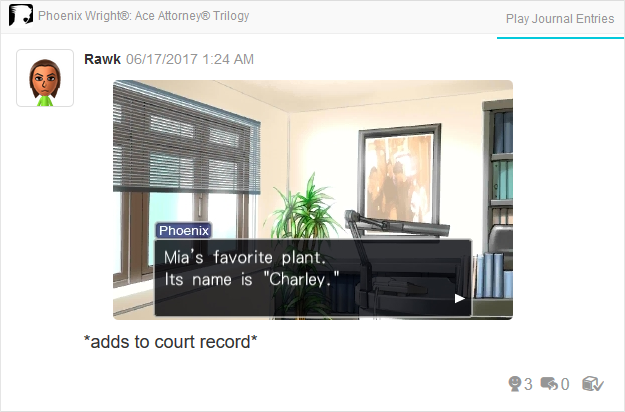 Charley plant Wright Anything Agency Phoenix Wright Ace Attorney Trilogy 3DS Miiverse Capcom Nintendo