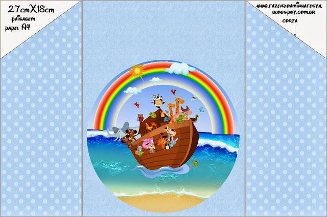 Arca de Noé en Celeste: Invitaciones para Imprimir Gratis.