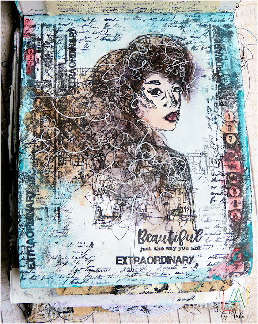Art journal page with AALL and Create stamps