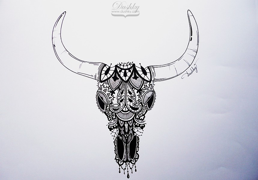 cac0e8bc4 Lace Bull Skull tattoo design - marker & liner on paper 21x29,7 cm